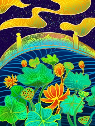 Chinese style lotus bridge radiant illustration illustration image