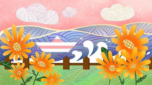 ambilight花とボートのイラスト イラスト素材