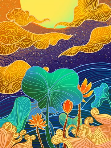 Lotus radiant illustration under the stars, Ambilight, Lotus, Lotus Leaf illustration image