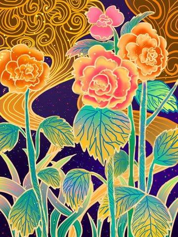 中国風の花牡丹の花の輝きの図 イラスト素材