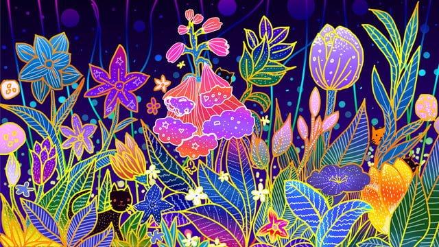 Красивая мечтательная иллюстрация цветочного растения ambilight Ресурсы иллюстрации Иллюстрация изображения