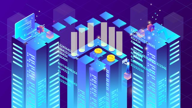 2.5d future technology building financial blockchain gradient illustration, App Splash Screen, Startup Page, Mobile Phone With Picture illustration image