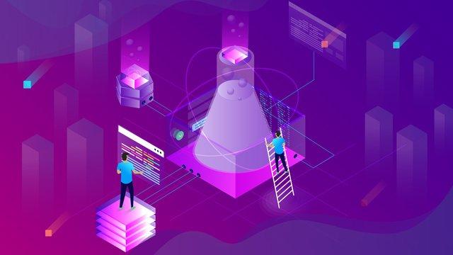 Small fresh purple gradient 2.5d artificial intelligence illustration, Artificial Intelligence, Technology Future, Funnel illustration image