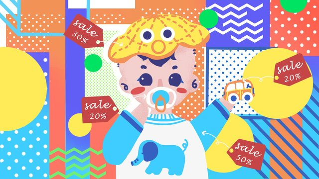 Little baby taobao carnival pop style fashion illustration, Baby, Young Child, Pop illustration image