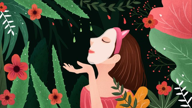 Aesthetic fresh skin care aloe vera gel repair mask illustration llustration image illustration image