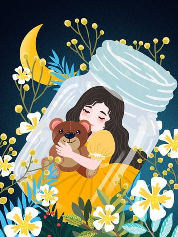 Beautiful healing system girl and bear good night world illustration llustration image