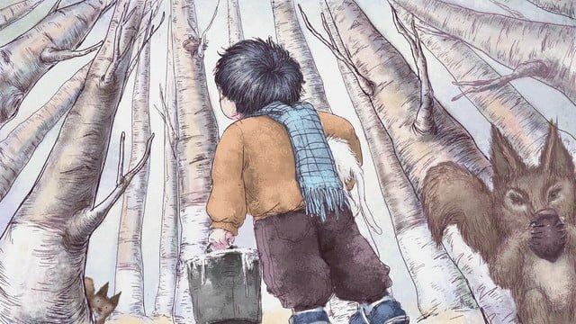Original illustration little boy with squirrel, Beautiful, Original, Illustration illustration image