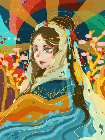 Beautiful retro atmosphere chinese style traditional toned girl llustration image