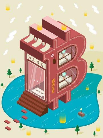 Биткойн Банк Здание 2 5d Векторная Иллюстрация Изометрические Искусство Слово Ресурсы иллюстрации Иллюстрация изображения