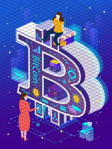 B bitcoin technology future financial business office 2.5d illustrator, Bitcoin, Blockchain, The Internet illustration image
