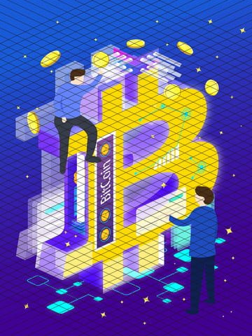 b bitcoin technology future financial business office 2 5d illustrator llustration image