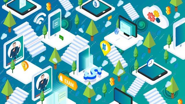 blue green gradient future intelligence artificial electronic forest labyrinth illustration ai imej keterlaluan imej ilustrasi