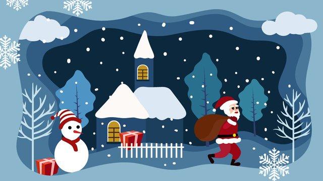 الورقة الزرقاء، جرح، قطع الريح، عيد ميِد، ورق، قلعة santa، claus، illustration مواد الصور المدرجة الصور المدرجة