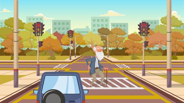 全国交通安全デー式典は、歩行者にかわいい漫画イラストを作ります青い空  白い雲  木 PNGおよびPSD illustration image