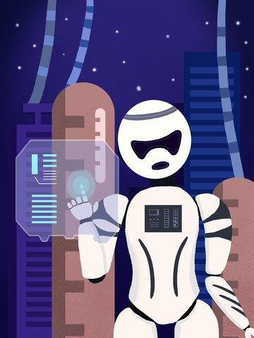 Иллюстрация работы робота голубой технологии будущая умная Ресурсы иллюстрации