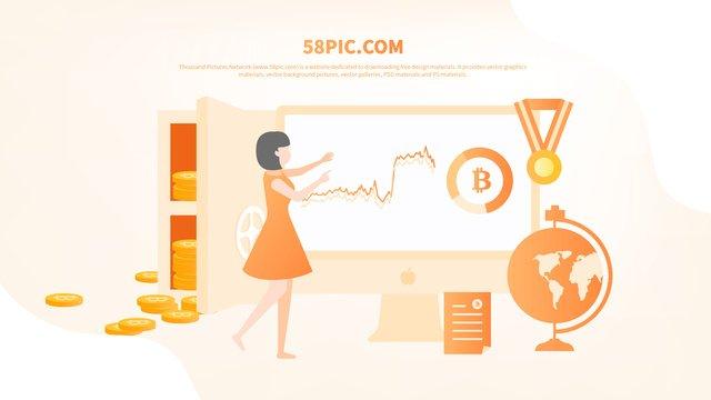 플랫 바람 오렌지 bitcoin 비즈니스 사무실 삽화 소재