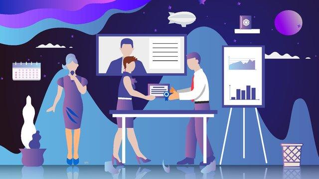 Business office vector cartoon illustration, Business, Cartoon, Vector illustration image