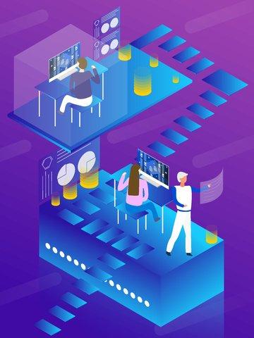 Бизнес офис будущего технологии 2 5d дышащая рабочая лестница Ресурсы иллюстрации