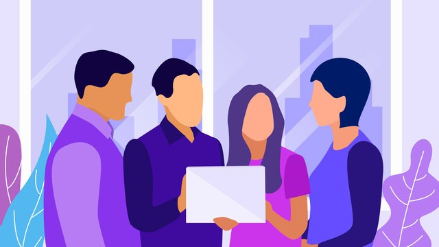 Business office company meeting to discuss flat wind illustration, Business Office, Office, Meeting illustration image
