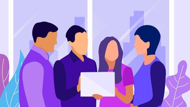 フラット風イラストを議論するためのビジネスオフィス会社会議 イラスト素材
