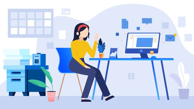 Flat working girl business office llustration image illustration image