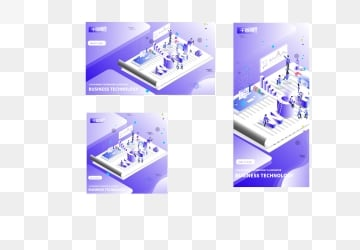 Small fresh purple gradient 2.5d business technology illustration, Business Technology, Technology Business, Business illustration image