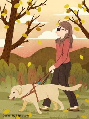 Уход за девушками инвалидами с собаками поводырями оригинальная ручная роспись иллюстрации Ресурсы иллюстрации Иллюстрация изображения