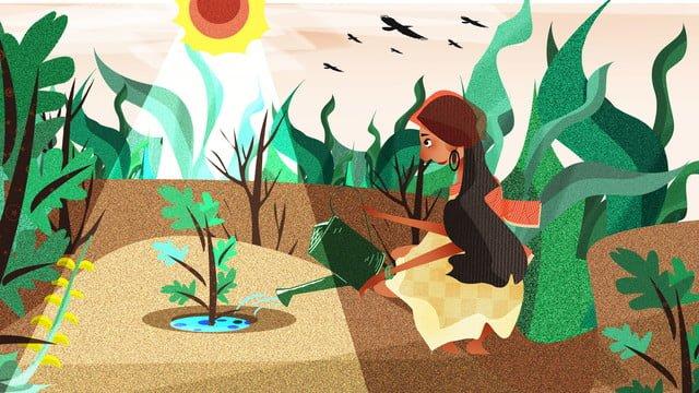 生態図の植物の水遣りの女の子 イラスト素材 イラスト画像