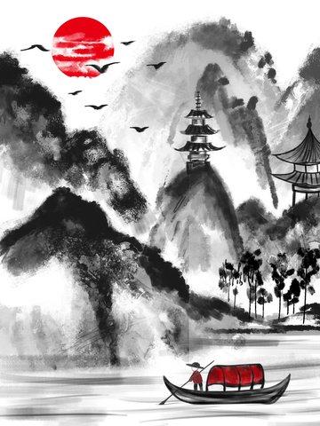 Chinese style ink painting fisherman, Chinese Style, Antiquity, Ink illustration image