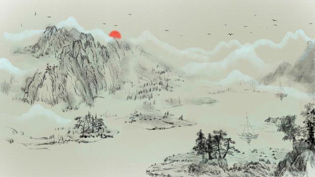 phong cảnh mực trung quốc Hình minh họa