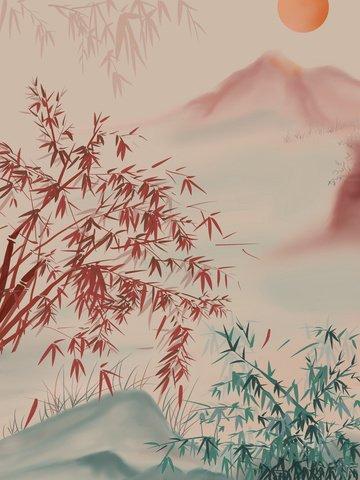 中國風水墨紅竹日出山水插畫 插畫素材 插畫圖片