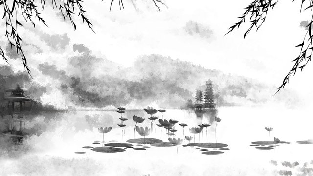 Chinese style ink landscape summer lotus pond, Chinese Style, Summer Lotus Pond, Ink Landscape illustration image