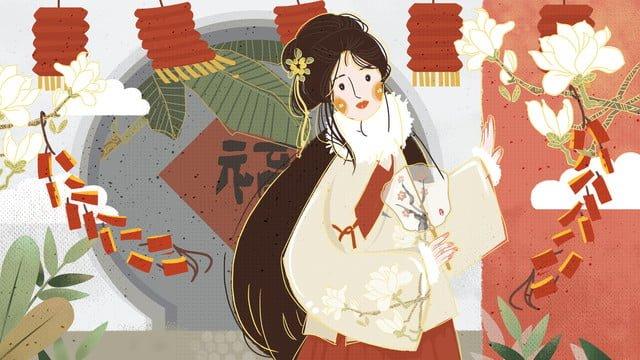 中国風豚年幸運、ファンと衣装の女の子のイラスト イラスト素材