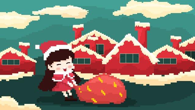 christmas 80 retro pixel style little girl مواد الصور المدرجة