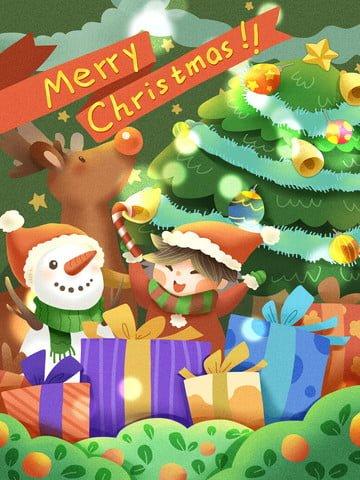 クリスマスプレゼント子供雪だるまトナカイメリークリスマス イラスト素材