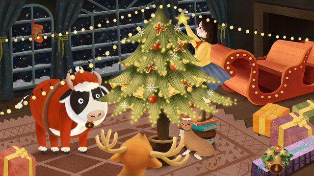 Original hand drawn illustration christmas decoration tree, Christmas, Animal, Festival illustration image