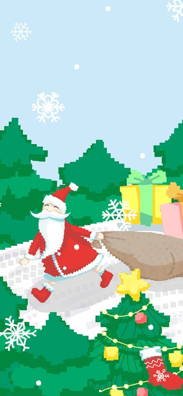 عيد الميلاد سانتا كلوز تقديم الهدايا 80s ريترو بكسل التوضيح مواد الصور المدرجة الصور المدرجة