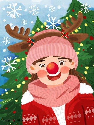 क्रिसमस की लड़की ने एक हिरण मूल हाथ से तैयार चित्रण के रूप में कपड़े पहने चित्रण छवि