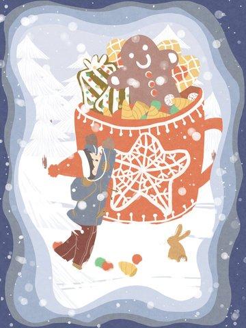 Christmas snow take gift paper cut style original hand drawn illustration gingerbread man, Christmas, Snow, Gift illustration image