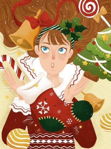 クリスマスファンタジー少女手描きのテクスチャイラスト イラストレーション画像