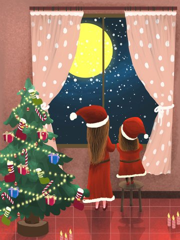 christmas tree starry sky etc llustration image