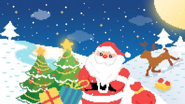 क्रिसमस 80 के दशक रेट्रो पिक्सेल चित्रण छवि चित्रण छवि
