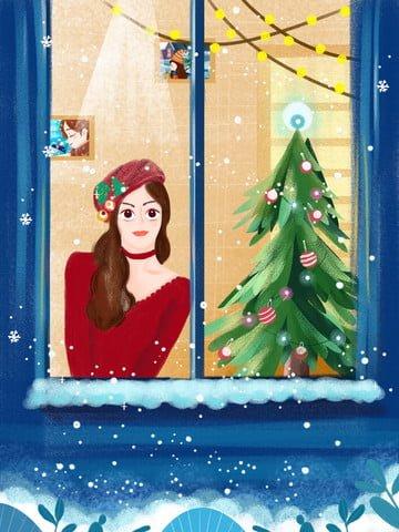 テクスチャイラストクリスマスイブの女の子が窓の前に雪を見て イラスト素材