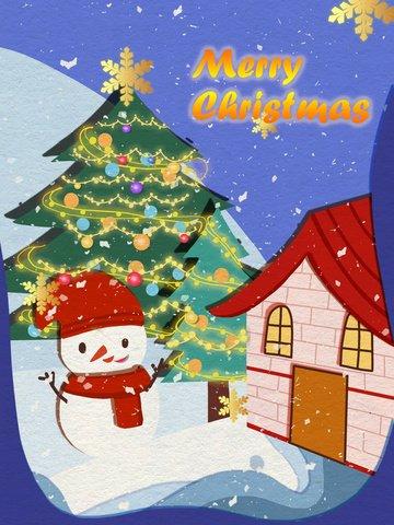 クリスマス紙カット風のクリスマスツリーと雪だるまの暖かいイラスト イラスト素材