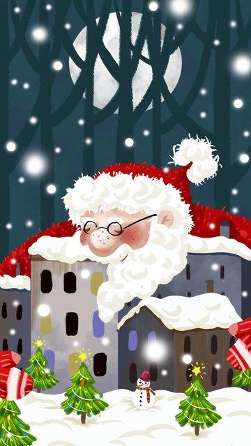 크리스마스 이브 미학 삽화 소재 삽화 이미지