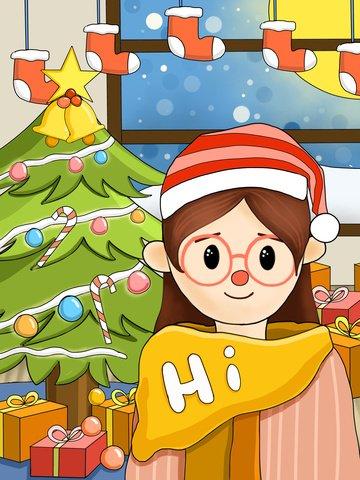 달콤한 소녀의 크리스마스 이브 삽화 이미지