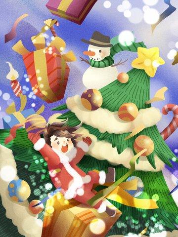 クリスマスのお祝いギフト女の子雪だるまクリスマスツリー イラスト素材