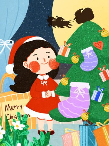 Christmas little girl cute minimalistic flat original illustration llustration image illustration image