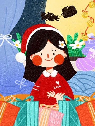 Christmas cute girl texture simple original illustration llustration image illustration image