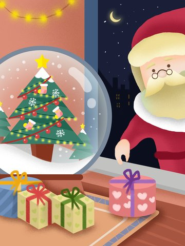سانتا كلوز يعطي هدية عيد الميلاد التوضيح مواد الصور المدرجة